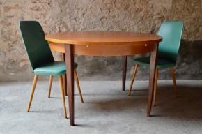 Table ronde teck scandinave pieds fuseau années 60 vintage rétro antic round table rallonges