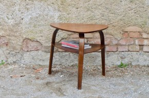 Table basse Hugues Steiner tripode plateau médiator années 50 design bow wood
