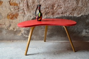 Table basse Steiner Bow wood design français pieds compas années 50 plateau haricot rockabilly french low table