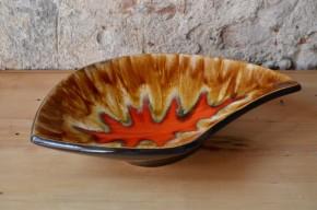 Coupe céramique allemande des années soixante style fat lava rouge multicolore signée