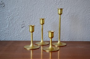 Chandelier lot de 4 bougeoirs en laiton  Danemark design danois scandinave moderniste
