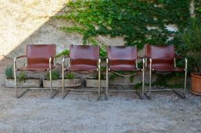 Fauteuil luge cantilever design italien 1970 style Mattéo Grassi cuir et chrome vintage bureau bout de table bauhaus