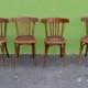 Chaises de cuisine ou de salon anciennes vintage bistrot Fischel série lot de 4 signées