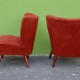 Fauteuils cocktail vintage rétro années 60 rouge paire livraison possible