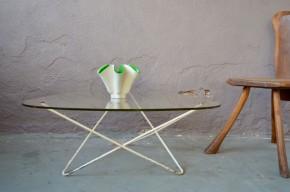 Table basse métal et verre Airborne 1950 de F. Lasbleiz design moderniste France