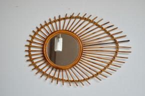 Miroir soleil rotin vintage rétro années 50 bohème excentrique en forme d'oeil