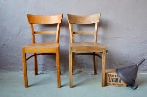 Paire de chaises bistrot anciennes vintage rétro années 50