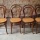 Belle série de 4 Chaises bistrot Fischel n°14 vintage rétro