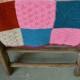 Couverture en  tricot de laine vintage rétro pop années 70 couture amish bohème  patchwork