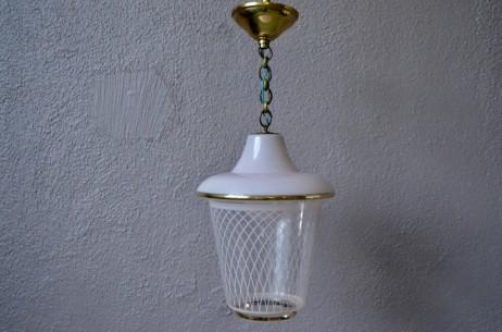 Lampe Suspension Plafonnier midcentury en métal et verre rose et doré