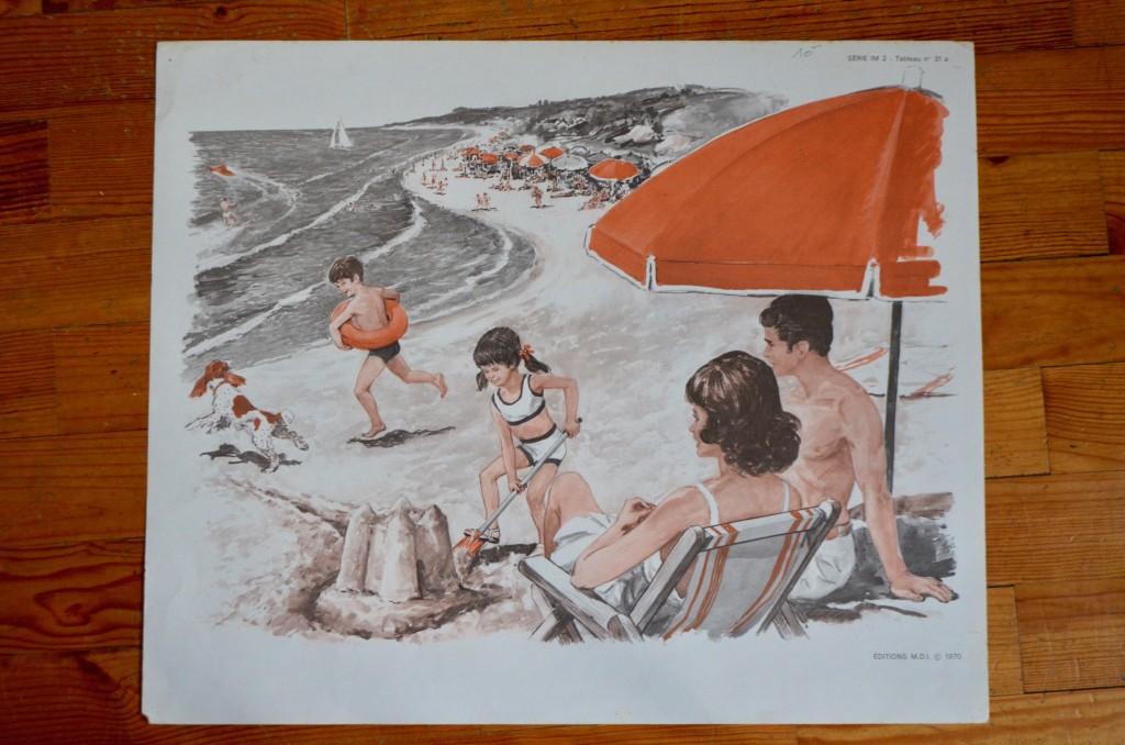 """Affiche """"La plage – le voilier"""""""
