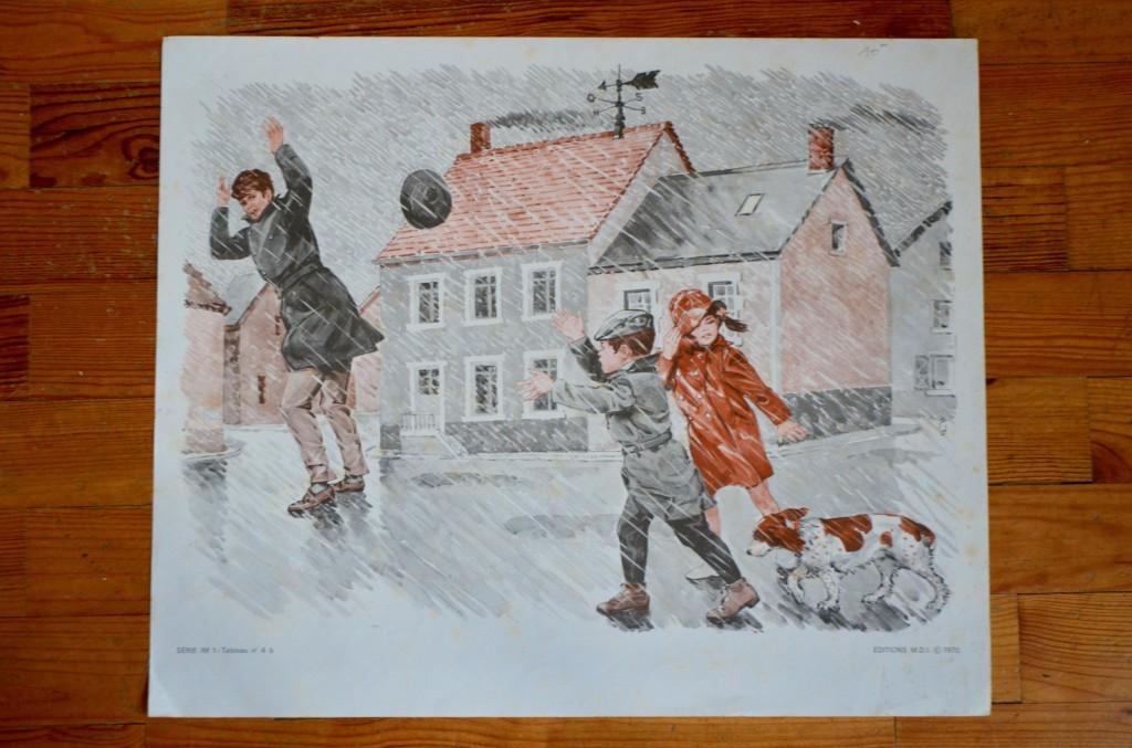 """Poster d'école """"La pluie – La chasse"""""""