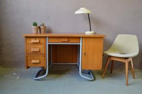 Bureau maître d'école en chêne vintage rétro années 50 piétement tubulaire caisson et tiroirs vintage rétro mobilier enfant