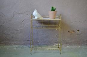 Desserte petite table porte plante vintage en fil doré style années cinquante