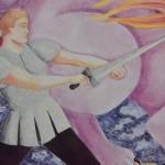 """Panneau scolaire """"Siegfried et le dragon & L'oiseau de feu"""""""
