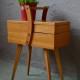Travailleuse boîte à couture bricolage rangement organisation pieds compas années 50 vintage rétro