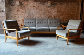 Set de Salon ensemble banquette fauteuils scandinave vintage W. Knoll
