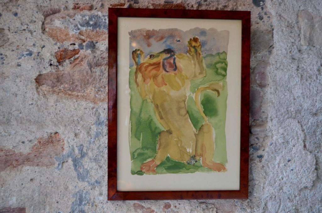 """Lithographie Christian Caillard  """"Le Lion et le moucheron"""""""
