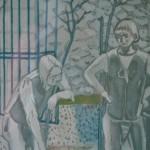 """Lithographie de Maurice BRIANCHON """"Le vieillard & les trois jeunes hommes"""""""