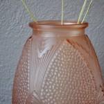 Vase Art Déco en verre rose