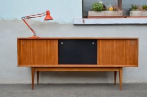 Enfilade vintage années 60 moderniste bahut sideboard scandinave meuble de rangement portes coulissantes sixties