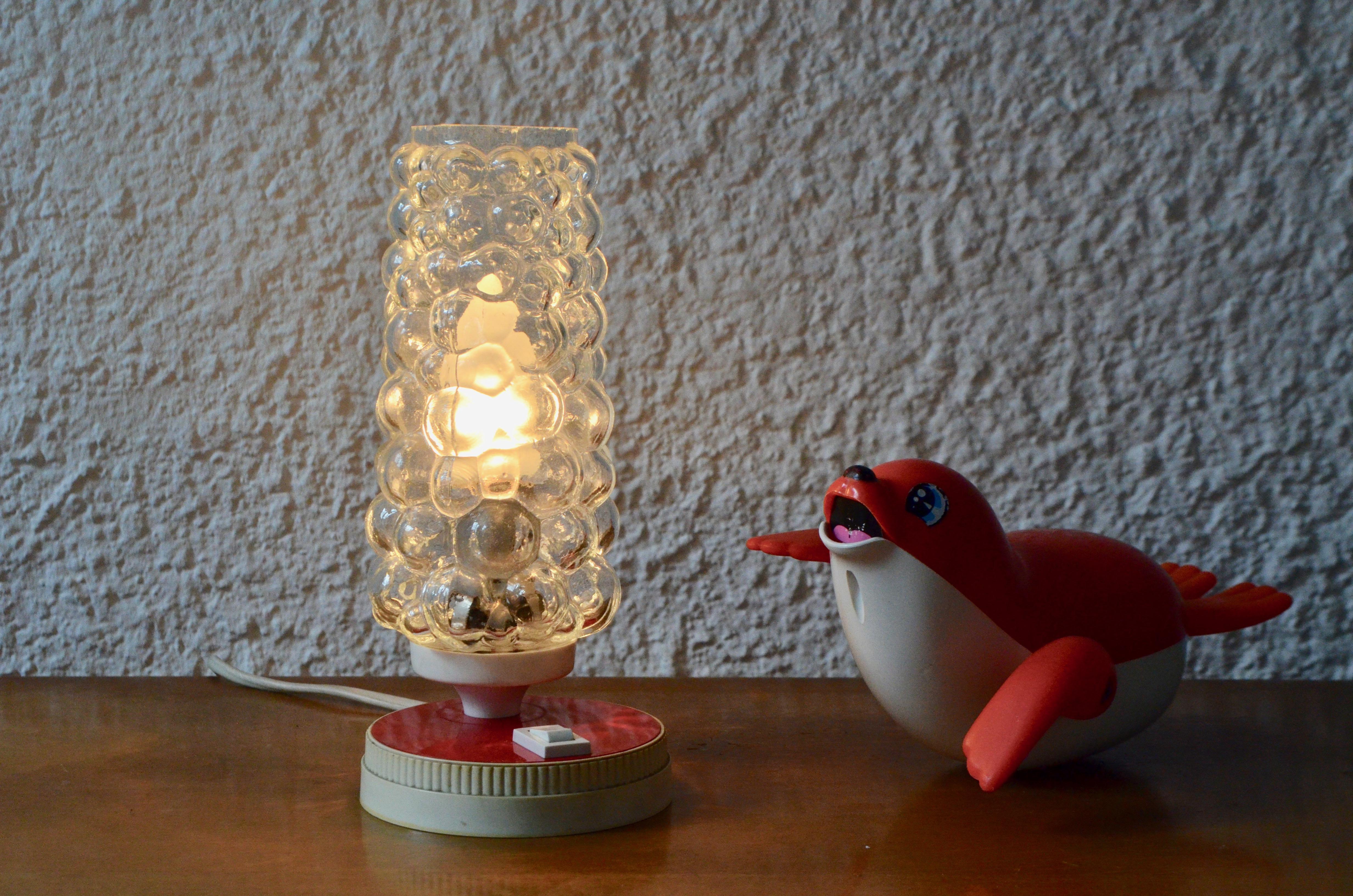 Lampe de table de chevet années 50 veilleuse rouge vintage