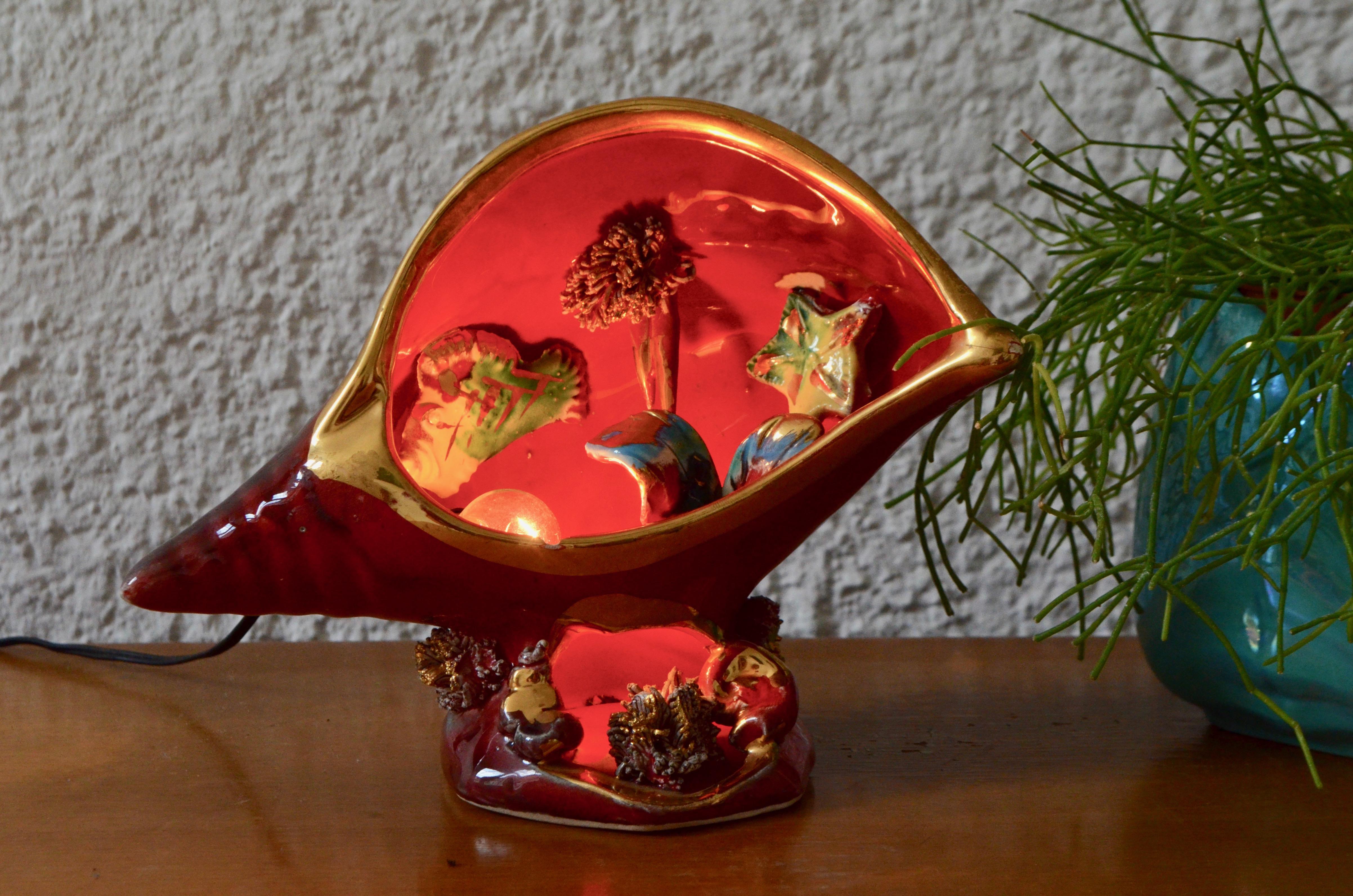 Lampe coquillage en céramique Vallauris kitsch France