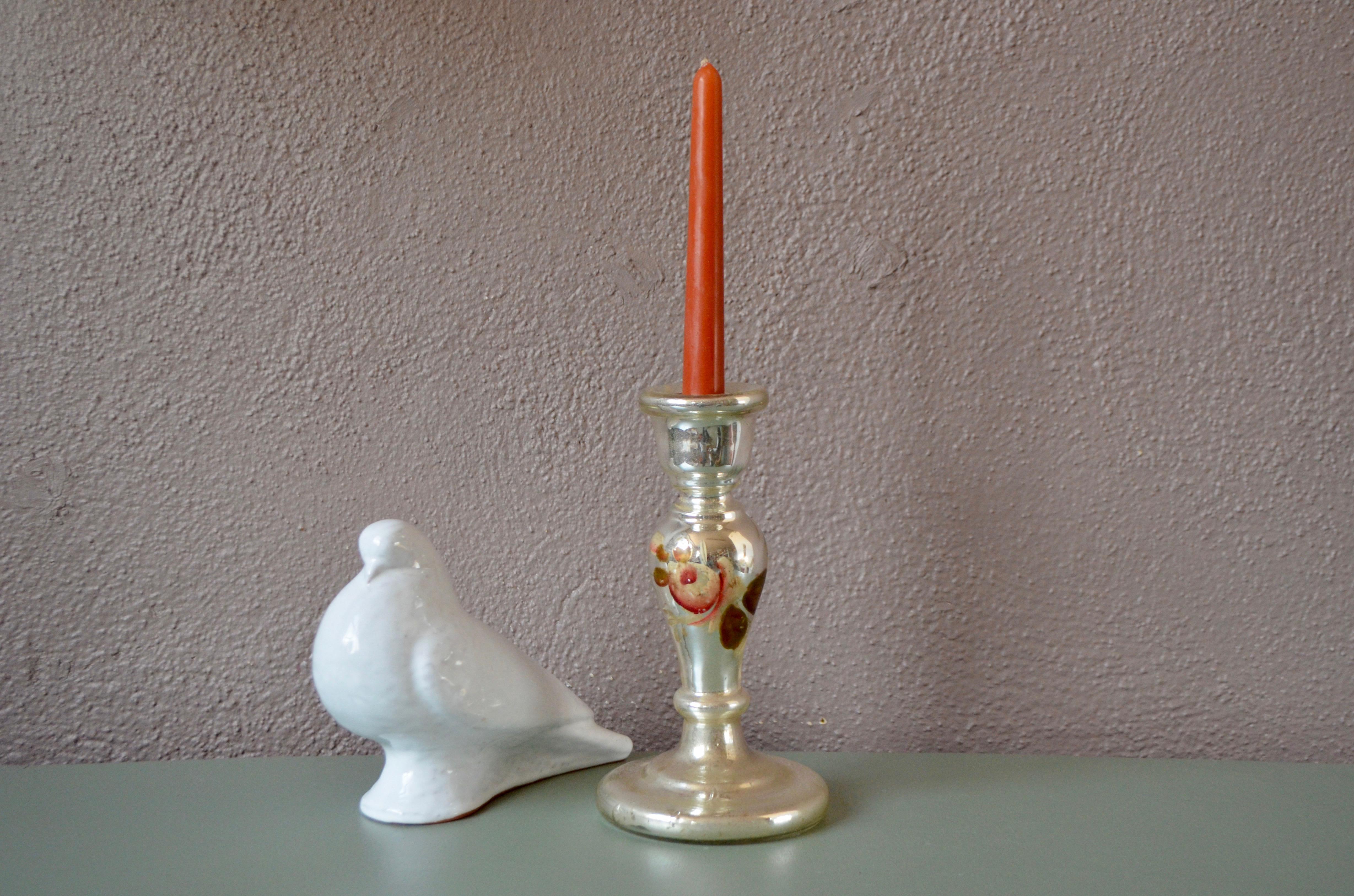 Bougeoir bohème en verre mercurisé ancien argenté
