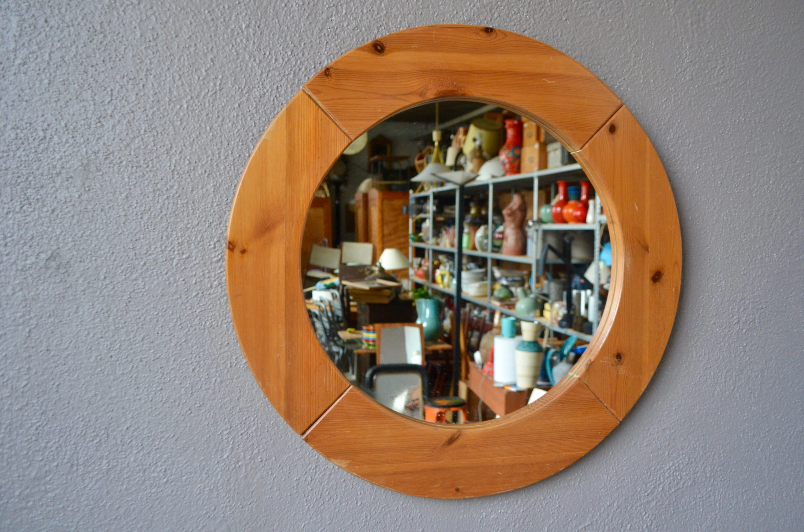 Miroir octogonal en pin style scandinave design Suède