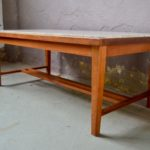 Table basse bois & travertin