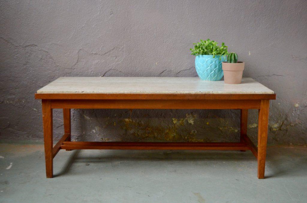 Table basse vintage design minimaliste en bois et travertin