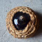 Bonbonne Dame Jeanne flacon verre soufflé 19e siècle ancienne verre brun french wine déco bistrot handmade