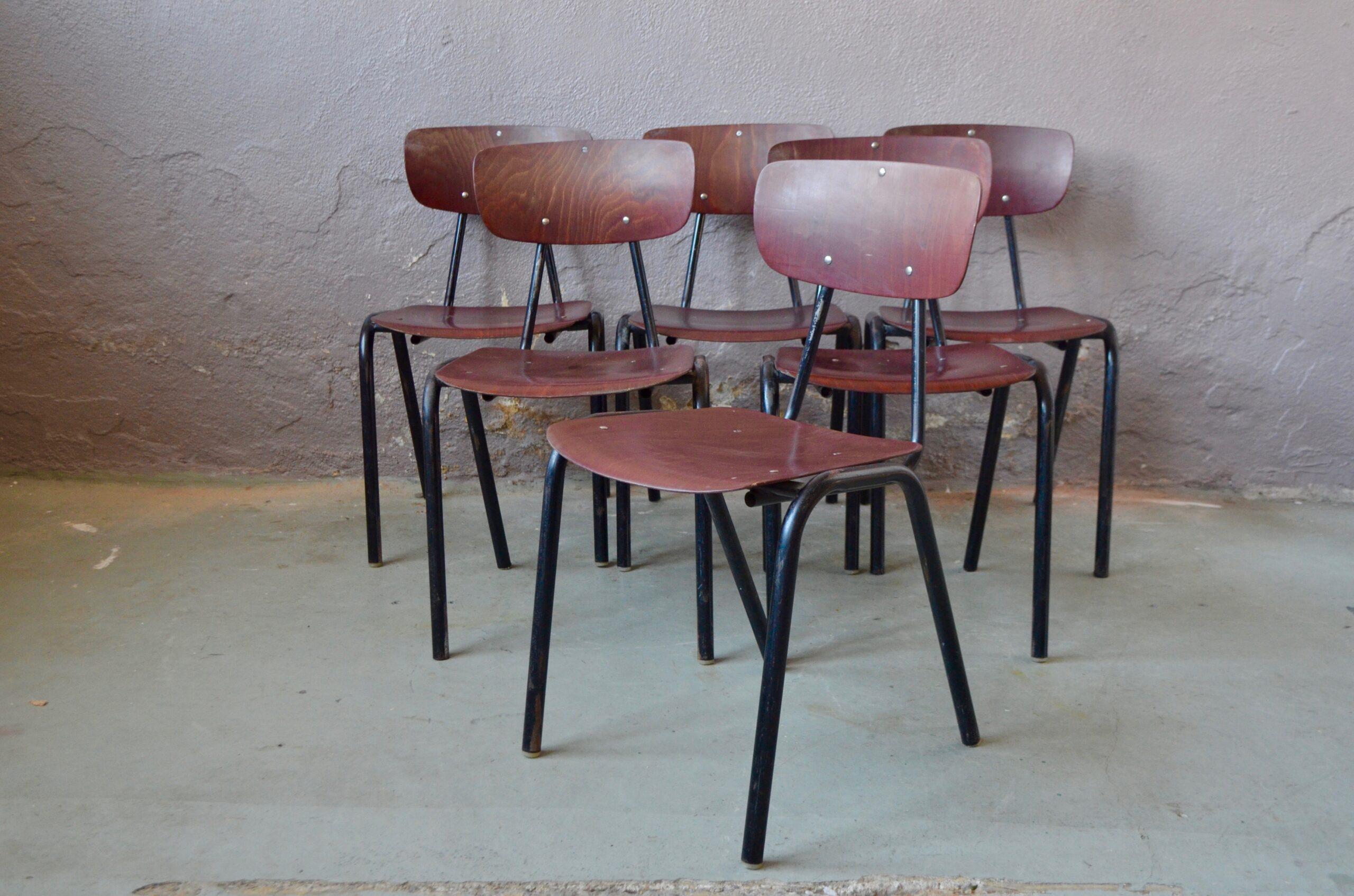 Lot série 6 chaises vintage coques pagwood pagoltz bois chrome vintage mobilier cuisine
