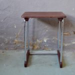 Desserte art déco bauhaus table d'appoint de nuit bois et métal