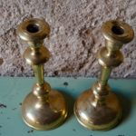 Chandelier lot de bougeoirs en métal doré anciens hollywood regency bohème
