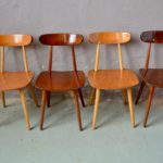 Série de chaises vintage en bois scandinave Hiller années 50 bistrot