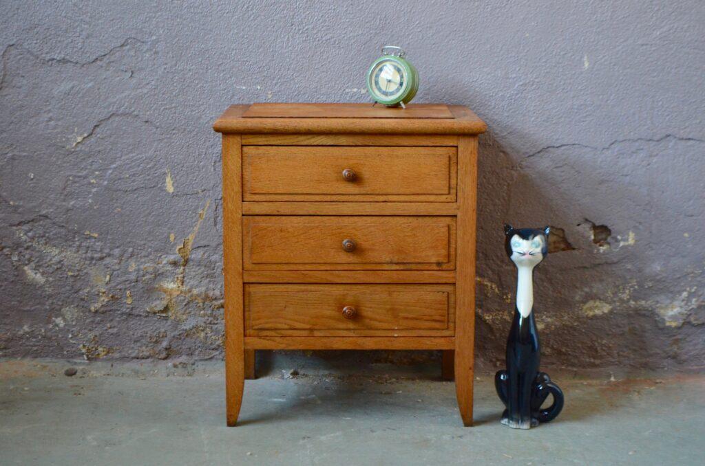 Commode table de nuit chevet rustique patiné en bois