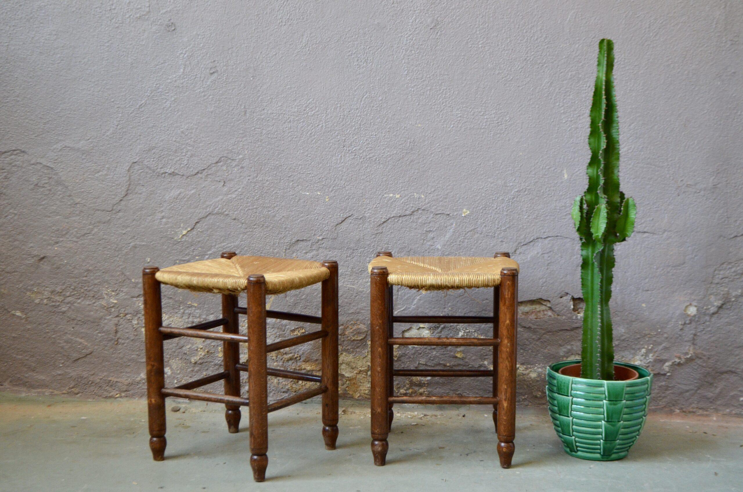 Tabourets paire bohème bois et paille rustique chalet ferme
