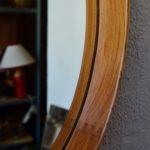 Miroir scandinave vintage en teck par Uno & Östen Kristiansson pour Luxus