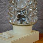 Lampe de table de chevet années 50 blanche en verre style vintage