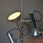 Lampe Suspension Plafonnier midcentury moderniste argentée chromée design France