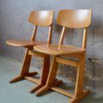 Paire de chaises adulte Casala design Vintage scandinave pop vintage années 50 bois école