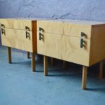 Paire de chevets vintage rétro moderniste bois clair scandinave années 60