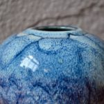 Vase boule bleu émaillé Taizé Daniel de Montmollin