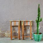 paire de tabourets duo vintage design pliants pliables