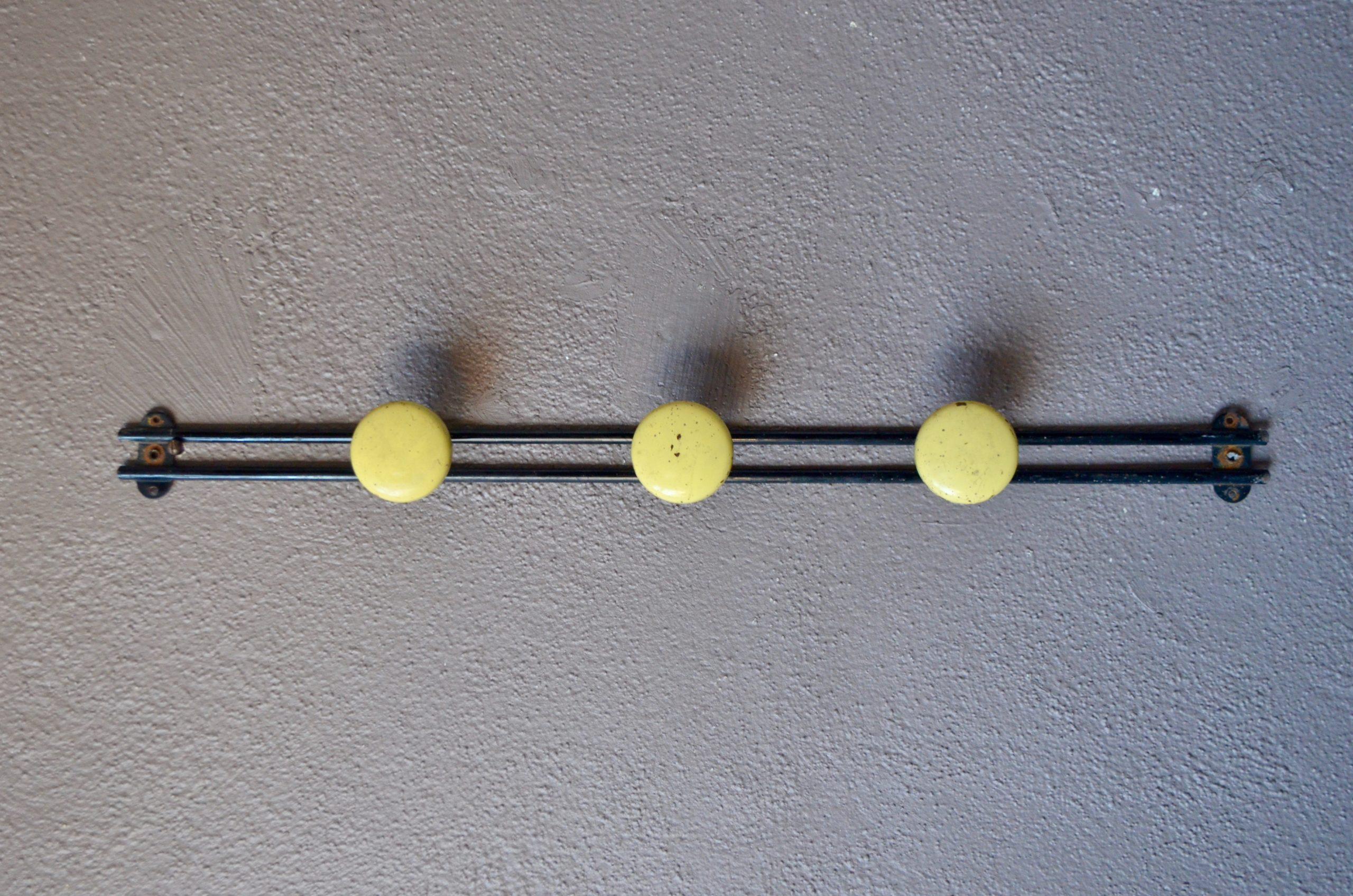 Trois patères arrondies laquée jaunes fixées sur une structure en métal noir, ce porte-manteaux mural est un bel accessoire vintage. Son design est à la fois simple et dynamique. Manteaux, doudounes et sacs attendent avec impatience d'y être suspendus !