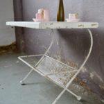 Desserte table console guéridon porte-revues vintage rétro années 60 style Mathieu Matégot Ernest Race treillis métallique