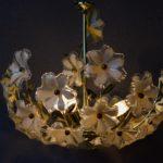 Lustre suspension millefiori bohème ancienne lampe