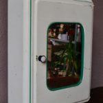 Pharmacie en métal vintage rétro armoire de toilette blanche miroir