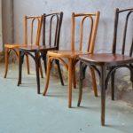 Lot de 4 chaises bistrot anciennes en bois courbé déco bohème